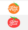 farm fresh and farm food hand written lettering vector image