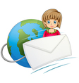 A lady in front of the globe with a mail vector image vector image