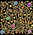 a seamless background with gold jewelry chains vector image vector image