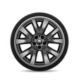 aluminum wheel car tire on white background vector image vector image