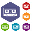 audio cassette tape icons set hexagon vector image vector image