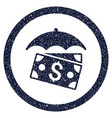banknotes umbrella rounded grainy icon vector image vector image