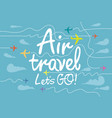banner for air travel with aircrafts in sky vector image vector image