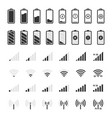 battery and connection icons smartphone charge vector image vector image