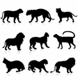 Big Wild Cats Silhouettes detailed vector image vector image
