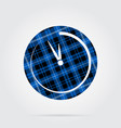 blue black tartan icon - last minute clock vector image vector image