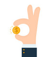 businessman hand shows gesture okay vector image vector image