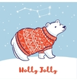 Card with a polar bear in red sweater vector image