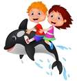 Cartoon Boy and girl riding orca vector image vector image