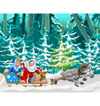 cartoon sheep driven in a sleigh of Santa Claus vector image