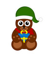 christmas bear character holding a present vector image