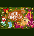 christmas gifts xmas bell and stokings frame vector image vector image
