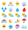 Cute sun rainbow moon rain and cloud - Kawaii vector image