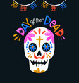 day dead colorful sugar skull greeting card vector image vector image