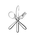 dining cutlery spoon knife and fork crossed vector image