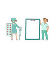 doctors with giant syringe pills medical chart vector image vector image