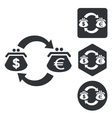 Dollar-euro trade icon set monochrome vector image vector image