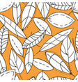 doodle textured leaves seamless pattern hand vector image