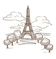 Eiffel tower paris landmark sketch travel to