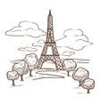 eiffel tower paris landmark sketch travel vector image