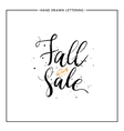 Fall sale lettering with orange leaf and black vector image