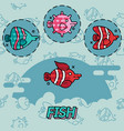 fish flat concept icons vector image vector image