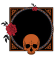 frame with roses and skull vector image vector image