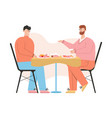 gay couple have romantic dinner at restaurant vector image