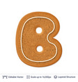 gingerbread letter b isolated on white vector image