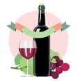 Glass of white wine bottle grapes vector image