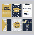 golden and navy blue happy birthday mini cards set vector image
