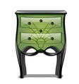 green bedside table in vintage style isolated on vector image