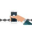 hand with mobile phone with microphone button and vector image vector image