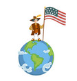 happy columbus day poster with columb on globe vector image vector image