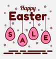 happy easter sale theme pendants of pink eggs vector image vector image