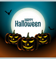happy halloween scary pumpkins card with moon and vector image