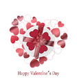 happy valentines day card with red and rose hearts vector image vector image