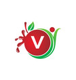 health fruit juice initial v vector image vector image