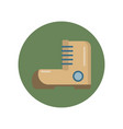 hiking boot flat icon in a green circle for web vector image