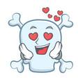in love skull character cartoon style vector image