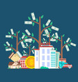 investing in future concept with money tree vector image vector image