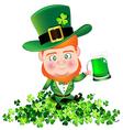 irish man man hold beer on shamrock for st vector image