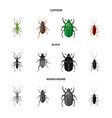 isolated object of insect and fly sign collection vector image