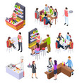 isometric restaurant waiters and people eating vector image vector image