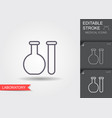 laboratory glassware line icon with editable vector image
