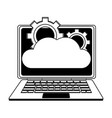 laptop with cloud computing in black and white vector image vector image