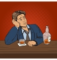 Man with bad mood drinks in bar pop art vector image vector image