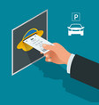 mans hand with parking tickets isometric flat vector image vector image