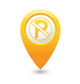 no parking icon on yellow pointer vector image vector image