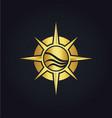 north star compass adventure gold logo vector image